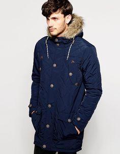 Brave Soul Quilted Parka Jacket with Faux Fur Trim Hood | Jackets ... : quilted parka jacket - Adamdwight.com