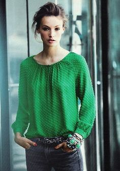 This J.Crew green blouse is lovely.  We've seen it on a friend - even nicer in person!