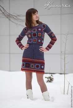 """Платья ручной работы. Ярмарка Мастеров - ручная работа. Купить Шерстяное платье """"Раскрасим зиму"""". Handmade. Разноцветный, зимнее платье"""