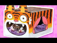 Cardboard Tiger Cat House - Crafts Ideas With Boxes | DIY on BoxYourself - YouTube