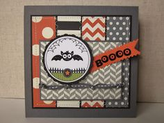 Stamps: Googly Ghouls Ink:  Versamark Paper: Howlstooth and scaringbone DSP, Ghoulish Googlies Designer Kit, basic gray, basic black card stock Tools:  big shot, finishing touched edgelits, delicate doilies sizzlits, basic gray stitched ribbon, black embossing powder, heat tool