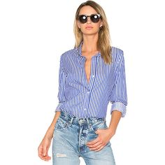 RtA Gia Button Up (366 AUD) ❤ liked on Polyvore featuring tops, blouses, button ups, striped button-down shirts, oxford button down shirt, striped shirt, white button up shirt and cotton button down shirts