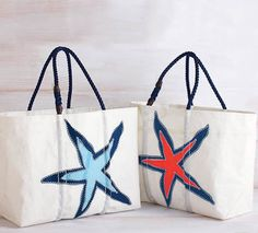 Sea Bags Starfish Beach Tote - talk about recycling.  These totes are made from sails from boats around the world.  www.cuddledown.com.  Great site.