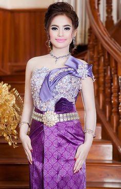 Khmer Wedding, Wedding Costumes, Lace Corset, Cambodia, One Shoulder, Wedding Dress, Embroidery, Formal Dresses, Fashion