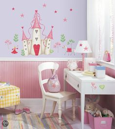 RoomMates - Muursticker Princess Castle - Roze