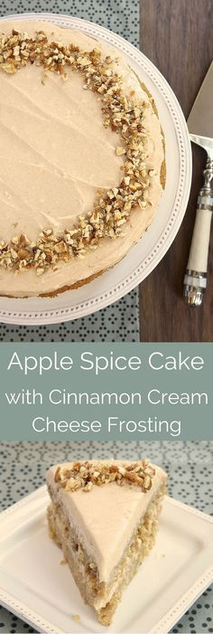 Apple Spice Cake with Cinnamon Cream Cheese Frosting is a delicious celebration of all things fall with lots of apples and fall spices. - Bake or Break Cake Köstliche Desserts, Delicious Desserts, Dessert Recipes, Spice Cake Recipes, Frosting Recipes, Cinnamon Cream Cheese Frosting, Cinnamon Cream Cheeses, Cream Frosting, Apple Recipes