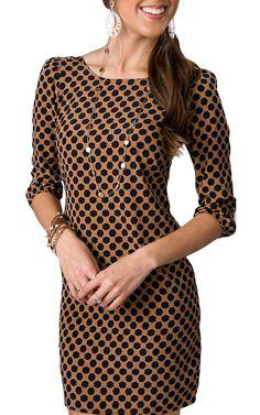Karlie® Women's Tan with Navy Petal Print Zipper Back 3/4 Sleeve Dress