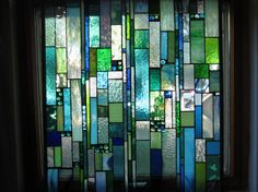 Gentle Sea Breeze SEA GLASS  stained glass panel Custom Ordered for front porch window on Etsy, $630.00