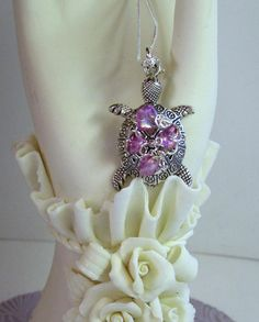 Handmade Purple Amethyst Glass SEA TURTLE 24 Sterling Sea Turtle Art, Mermaid Necklace, Purple Amethyst, Quartz Crystal, Brooch, Trending Outfits, Crystals, Unique Jewelry, Handmade Gifts