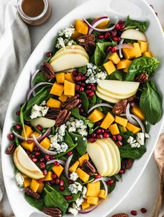 Roasted pumpkin is a cozy addition to this sweet and savory pumpkin spinach salad with apples, pomegranate, toasted pecans and blue cheese! It's the most perfect salad for cooler fall and winter months. (vegetarian, gluten-free) We all know pumpkin is a staple for cozy fall baked goods and sweet spiced breakfasts, but do you ever... The post Roasted Pumpkin Spinach Salad appeared first on Lively Table. Salad Recipes Gluten Free, Healthy Salad Recipes, Whole Food Recipes, Roast Pumpkin, Spinach Salad, Clean Eating Salads, Honeycrisp Apples, Winter Salad, Toasted Pecans