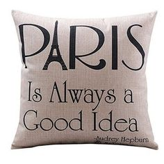 Vintage Home Decor Cotton Linen Throw Pillow Cover Paris Is Always A Good Idea | Overstock.com Shopping - The Best Deals on Throw Pillows