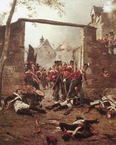 Coldstreamers defending the gate of Hougoumont Château at the Battle of Waterloo on 18th June 1815: picture by Ernest Crofts