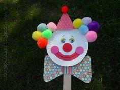 Paper Plate Clown Puppet - Crafts by Amanda Kids Crafts, Clown Crafts, Circus Crafts, Carnival Crafts, Puppet Crafts, Summer Crafts, Craft Stick Crafts, Toddler Crafts, Preschool Crafts