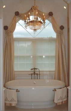 Having great windows is a major plus in any home–they add character and provide much coveted natural light. Without window treatments, however, the space will look unfinished. - Check Out THE IMAGE for Lots of Ideas for Unique Window Treatments. Arched Window Treatments, Bathroom Window Treatments, Bathroom Windows, Window Coverings, Bathroom Curtains, Curtains For Arched Windows, Small Windows, Bay Windows, Arch Windows