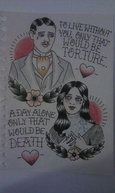 Morticia and Gomez tattoo