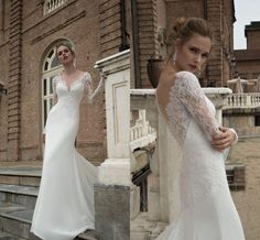 Sexy Lace Mermaid Wedding Dresses 2016 Alessandra Rinaudo Deep V Neck Long Sleeves Illusion Back Wedding Gowns Vestido De Noiva Online with $221.43/Piece on Angelia0223's Store | DHgate.com