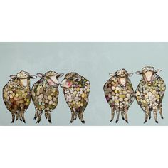 GreenBox Art '5 Woolly Sheep' by Eli Halpin Graphic Art on Wrapped Canvas