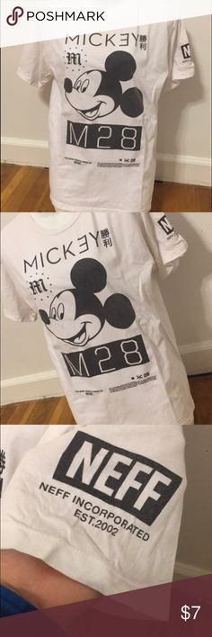 Neff Mickey Mouse Tshirt Black and white NEFF Mickey Mouse Tshirt from PAC Sun. Good condition. Women's XL but fits like a medium. Neff Tops Tees - Short Sleeve