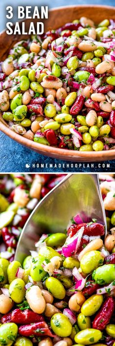 3 Bean Salad! Perfect for outdoor summer parties, this semi-sweet and colorful 3 bean salad is super easy to whip up and a great go-to side dish that fits in any meal. | HomemadeHooplah.com