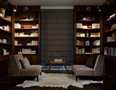 Interior Designer: Kara Mann. masculine midcentury modern library. dark.