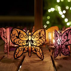 Butterfly Friends Votive Centerpiece - $22 - this set has 3 butterflies linked together for a beautiful centerpiece