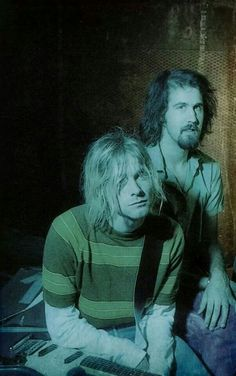 """Kurt and Krist on the set of the """"Teen Spirit"""" video, Culver City, August 17, 1991"""