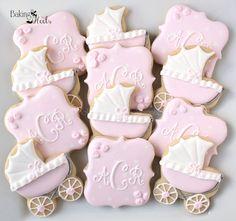 Rose Baby Carriage Cookies Monogram Cookies It's by Bakinginheels