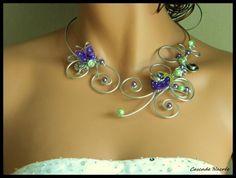 Collier,bijou,violet,vert anis,aluminium,polymere,fimo,accessoires en argent tibetain
