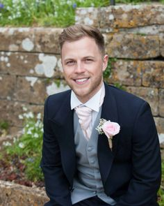 Button hole, rose buttonhole, gypsophelia, baby's breath, twine, blue suit, groom, dove grey waistcoat, handsome groom, husband, tail suits, three piece suit, wedding suit