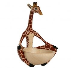 Skilled woodcarvers in Kenya transform blocks of jacaranda wood into fun animal figures. Sitting in a meditation pose, this unique bowl is the perfect place to put jewelry or other small items for safekeeping. Jacaranda wood is a sustainable, fast-growin Giraffe Art, Giraffes, New Africa, Yoga Art, Wood Bowls, African Safari, Fair Trade, Kenya, Hand Carved