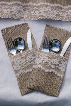 Burlap and Lace cutlery holders https://www.facebook.com/Forever.n.Always.Weddings