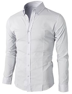 Gergeos Mens Stripe Button Down Shirt Regular Fit Casual Business Dress Shirt Fashion Autumn Long Sleeve Shirt Red Blue White