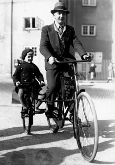 bicicletta con sidecar per bambino - bicycles father and son - vintage