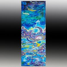 Two oceans abstract art print of original acrylic painting  in blue marine, decorative shapes and rich gradient colors