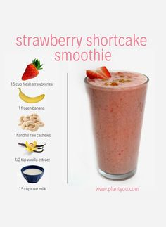 This strawberry shortcake smoothie is just in time for Valentine's Day! Enjoy this healthy breakfast or for brunch! The taste is perfectly sweet and is made of whole food plant-based ingredients to help you thrive! Vegan Smoothie Recipes, Breakfast Smoothie Recipes, Milkshake Recipes, Vegan Recipes, Milkshakes, Healthy Milkshake, Smoothie Recipes For Kids, Healthy Vegan Breakfast, Healthy Brunch