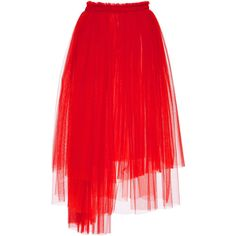 MSGM Pleated Tulle Skirt (£625) ❤ liked on Polyvore featuring skirts, red, bottoms, high-waisted skirts, tulle skirt, high waisted knee length skirt, red pleated skirt and high-waist skirt