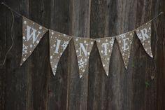 Winter Burlap BannerChristmas Burlap by WithLoveKenzieAnn on Etsy Burlap Bunting, Bunting Banner, Burlap Banners, Banner Ideas, Buntings, Shabby Chic Christmas, Crochet Crafts, Crafty, Beads