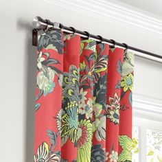 Vase Red Chinoiserie Curtain, Ring Top | Loom Decor