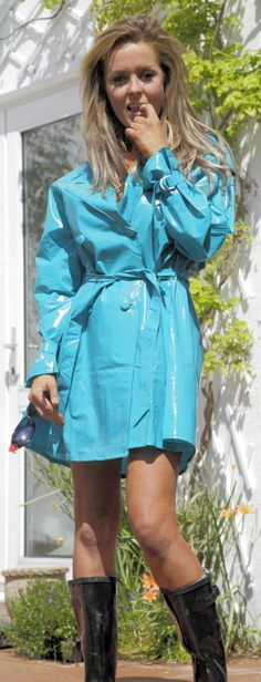 ,Light Blue PVC Raincoat