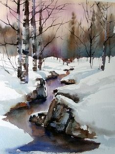 Aud Rye --- link to Winter Scenes -- Anders Andersson & Aud Rye Watercolor Trees, Watercolor Landscape, Watercolour Painting, Landscape Art, Landscape Paintings, Watercolors, Easy Watercolor, Painting Art, Winter Painting