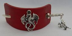 Red Leather Dragon Barrette w/ Silver Sword Hair Stick New Fashion Charm  #Handmade