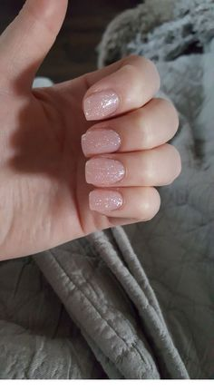 #Glitter  #Inspiring  #Ladies  #Nails  #nude  #Short #Creative #Short #nude  Creative Short nude nails with glitter | Inspiring Ladies