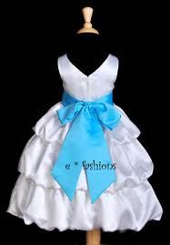White & Turquoise Flower Girl Dress #2