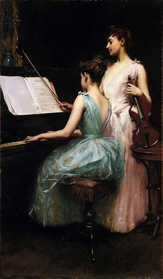 """""""The Sonata"""" oil on canvas by Irving Ramsey Wiles, 1889"""