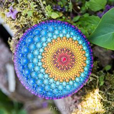 Sun & Moon - very special mandala stone. . Available right now in my shop (see the link in bio) #mandala #mandalastones #paintedrocks #mandalaart #mandalaartist