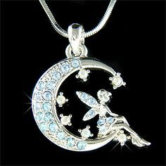 Baby Blue Fairy Swarovski Crystal Tinker Bell Tinkerbell ANGEL Pixie Wings MOON Necklace Christmas Gift new Fairy Jewelry, Moon Jewelry, Fantasy Jewelry, Cute Jewelry, Silver Jewelry, Jewelry Accessories, Jewlery, Tinkerbell And Friends, Tinkerbell Fairies
