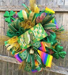 St. Patricks Day Rainbow Pot of Gold Lucky Deco Mesh Irish | Etsy Leprechaun Gold, Pot Of Gold, Emerald Isle, Trendy Tree, Mesh Wreaths, Deco Mesh, St Patricks Day, Irish, Christmas Wreaths