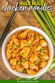 Huli Huli Chicken Noodles - Plain Chicken Huli Huli Chicken, Poulet Huli Huli, Ramen Noodles, Ramen Noodle Recipes, Green Onions, Green Beans, Chicken Recipes, Asparagus, Broccoli
