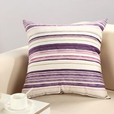 Purple Stirpe Home Decor Simple Style Throw Sofa Pillow Case Cushion Cover