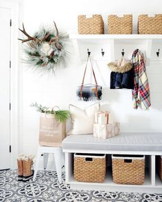 Holiday decor in the mudroom